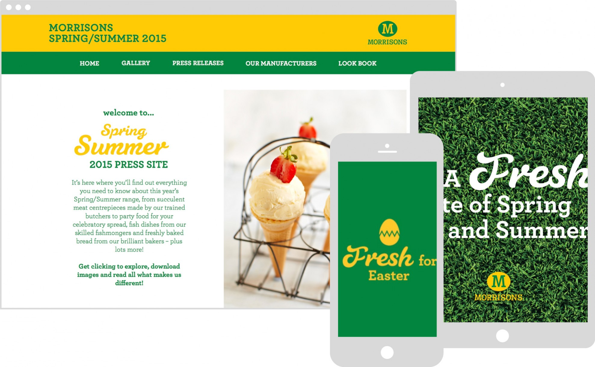 Morrisons website design on multiple devices