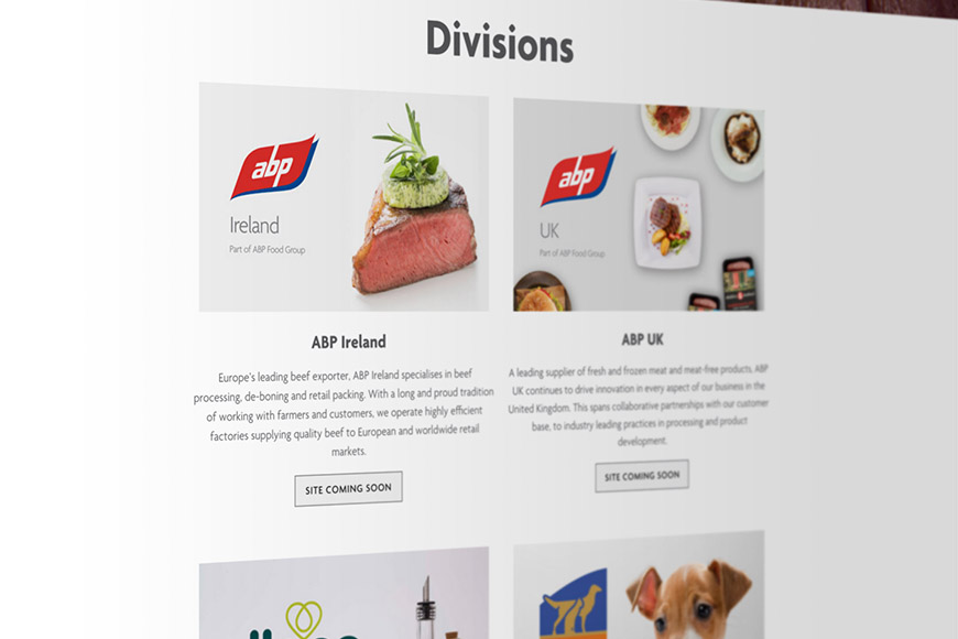 ABP food group image of website by marvellous design agency leeds.