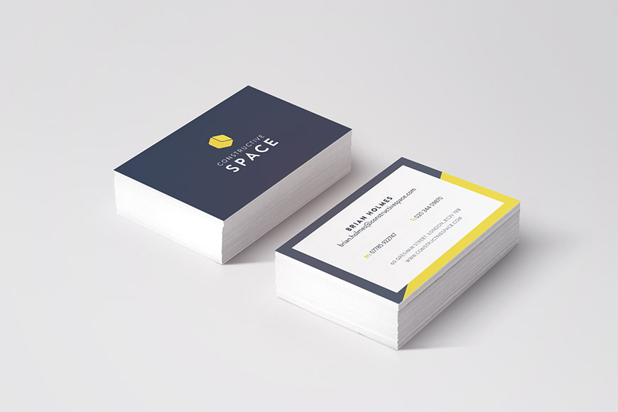 constructive space gallery image of business cards by marvellous design agency leeds.