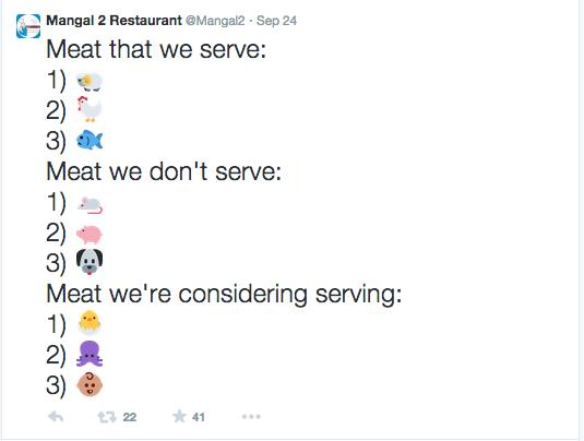 Mangal 2 Restaurant tweet