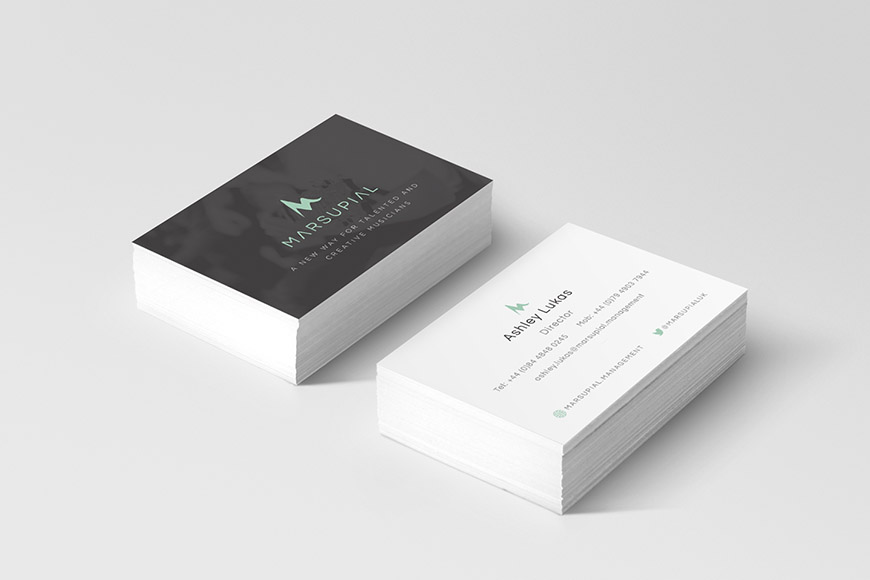 Marsupial gallery image of business cards by marvellous design agency leeds.