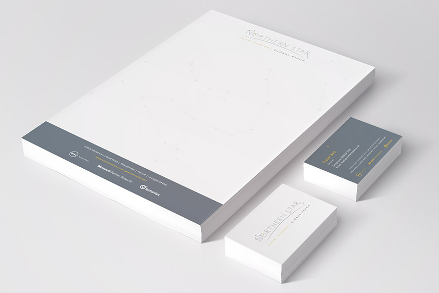 northern star gallery image of letterhead and business cards by marvellous design agency leeds.