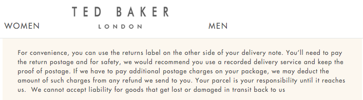 Ted Baker Returns Policy