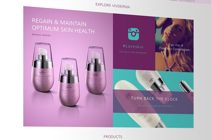 Vivderma gallery image of products on website by marvellous web design agency leeds
