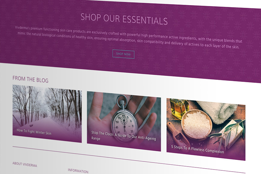 Vivderma gallery image of website by marvellous web design agency leeds
