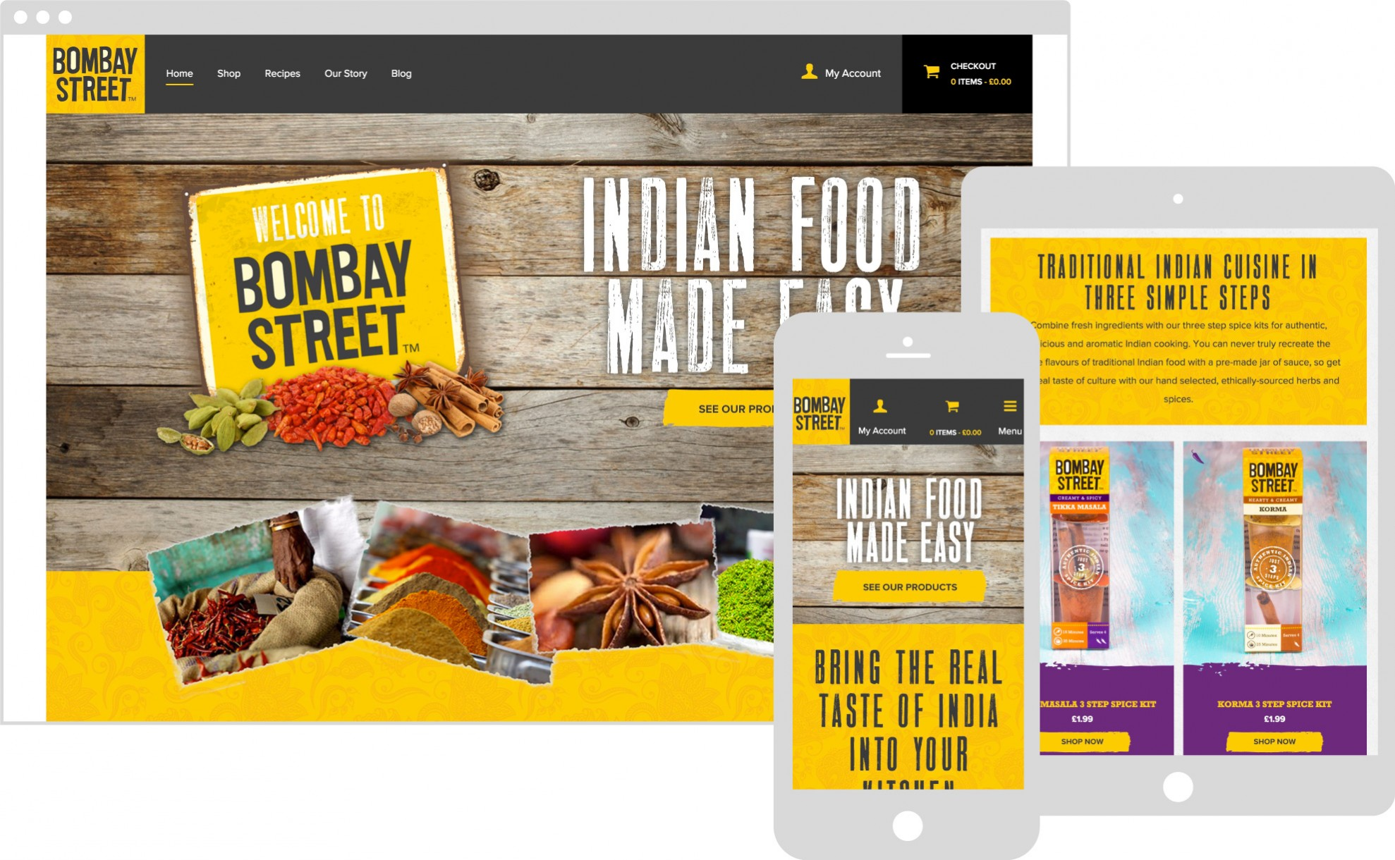 Bombay street website featured on multiple devices