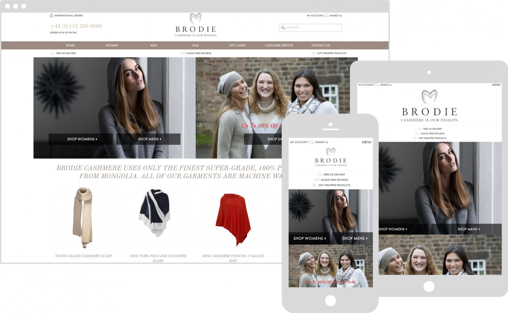 brodie cashmere on multiple devices, ipad iphone and desktop