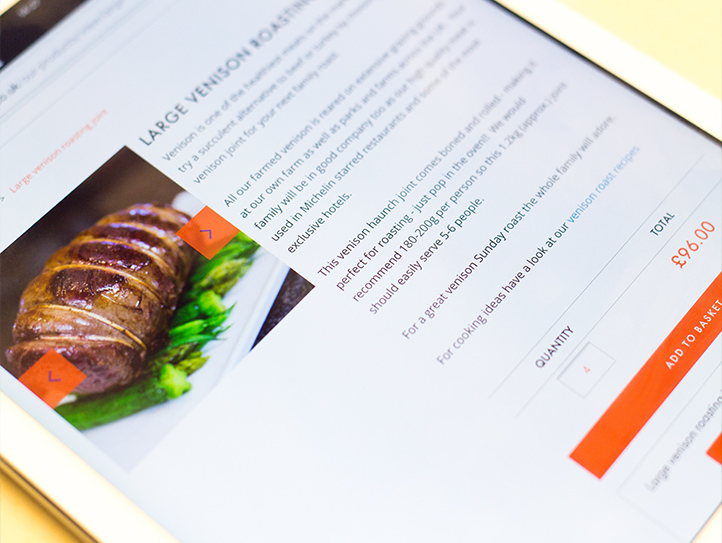 Holme farmed venison displaying on an ipad at marvellous web design agency leeds