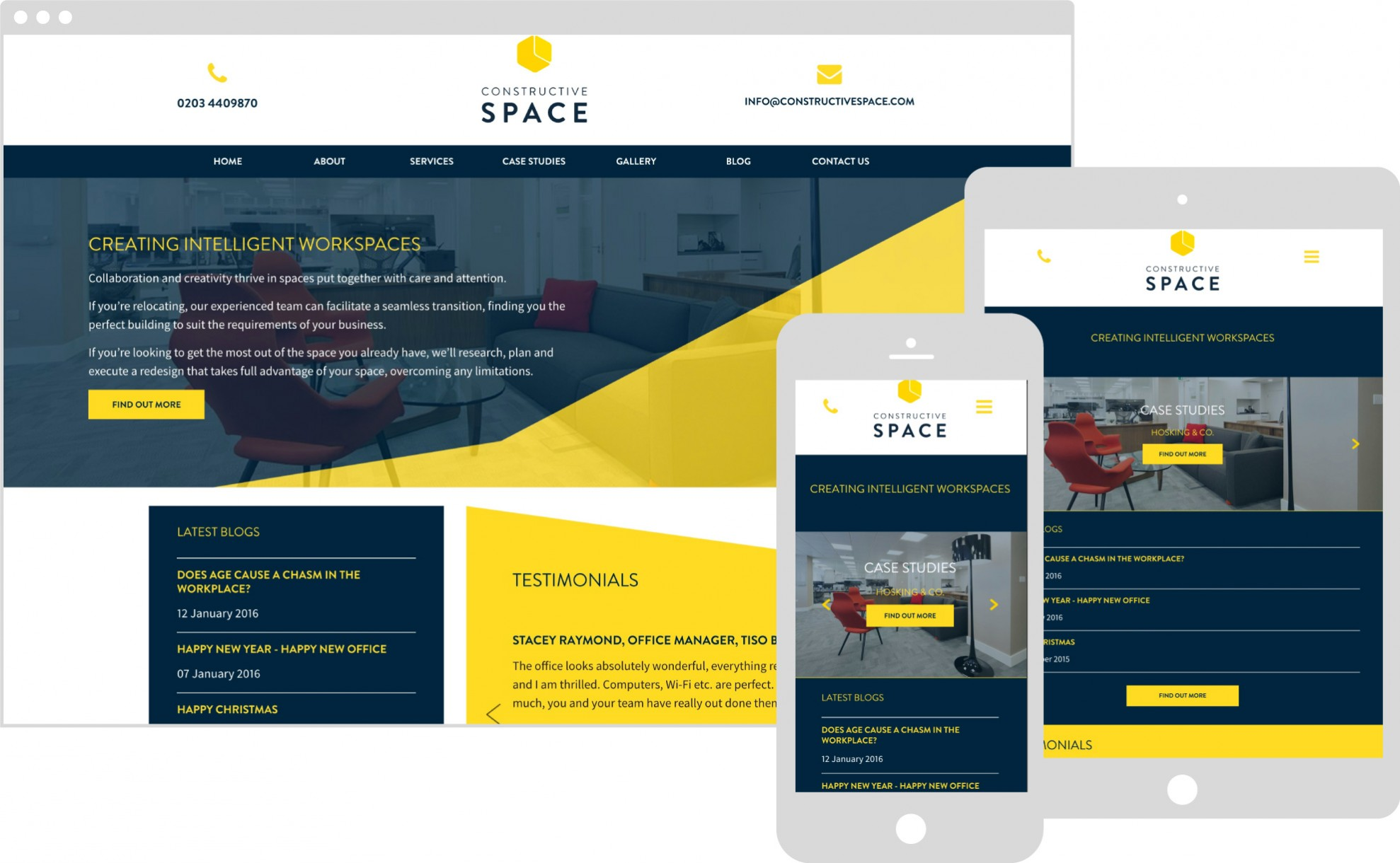 Constructive space perch website on multiple devices