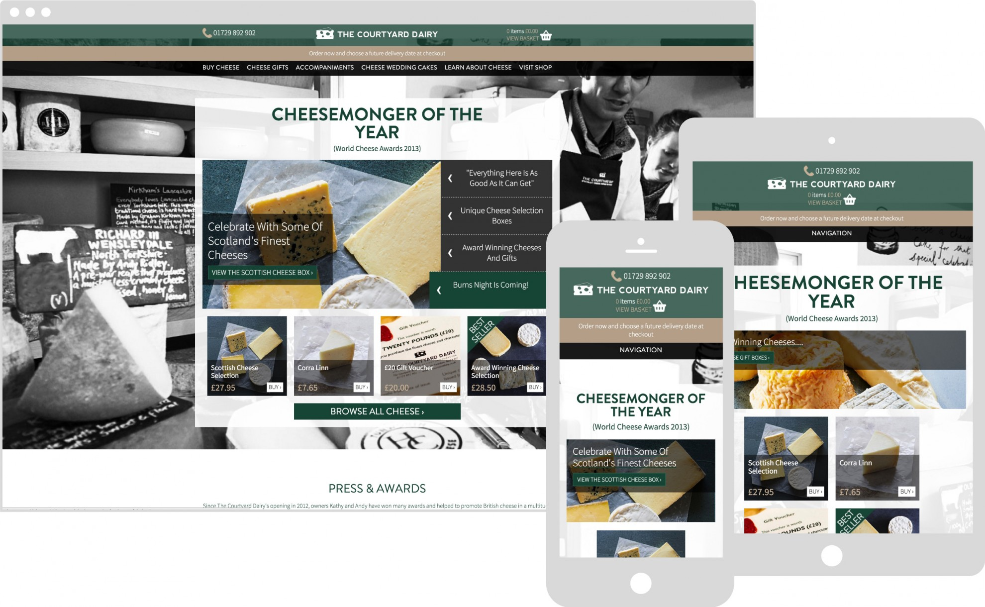 The courtyard Dairy Website on multiple devices