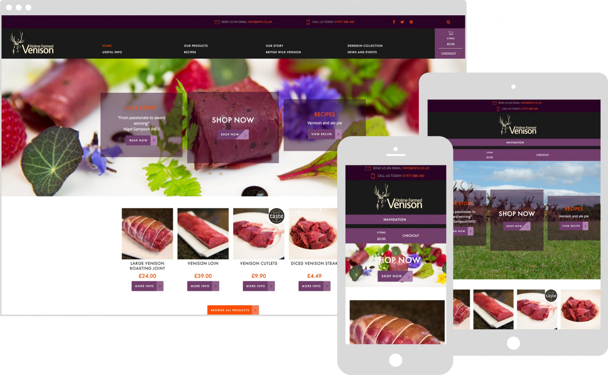 Holmed farmed venison displaying on multiple devices