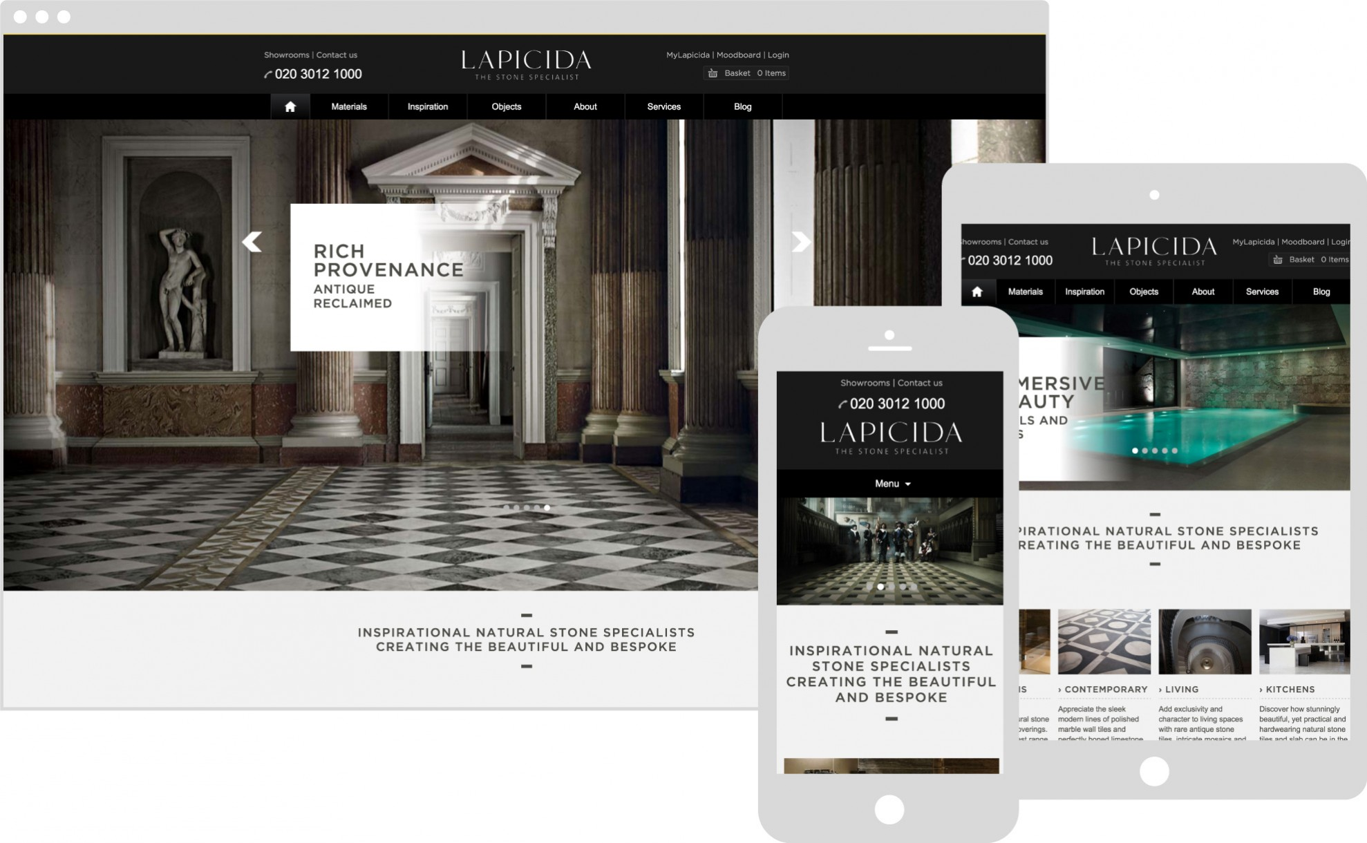 Lapicida website displaying on multiple devices