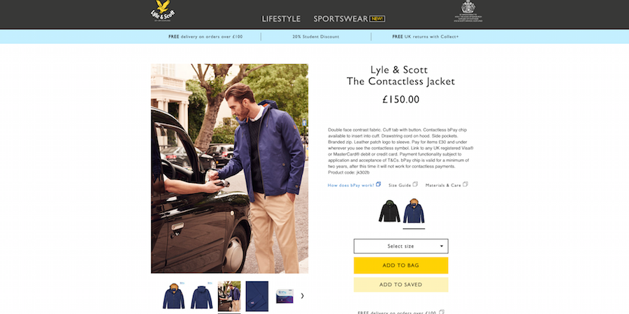 Lyle & Scott sportswear web page Marvellous digital marketing agency