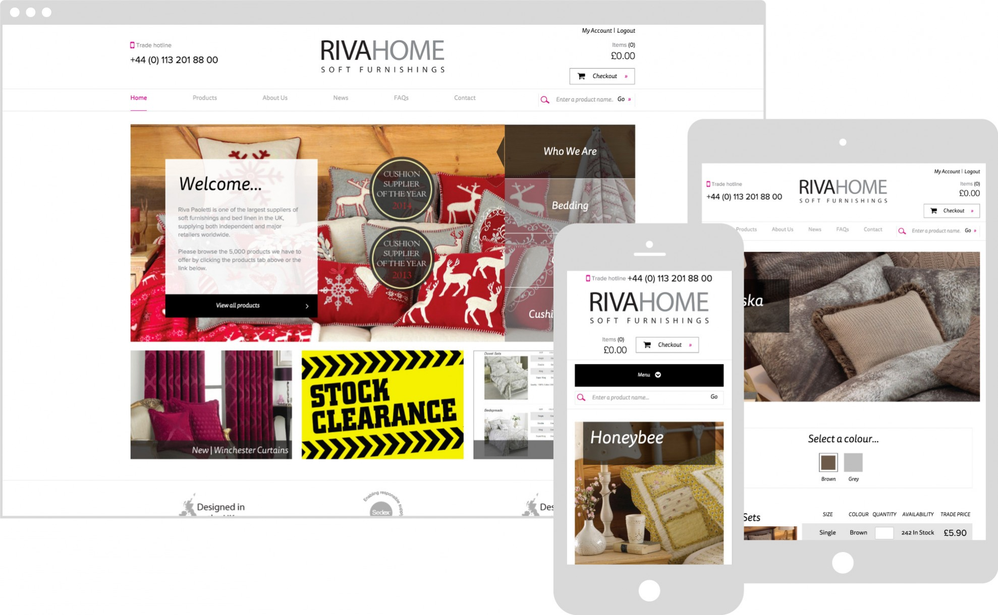 Riva Home Megento website featured on multiple devices