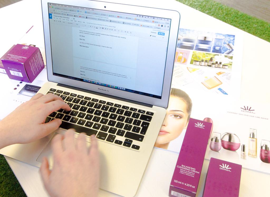 Joe writing copy for the vivderma website, by marvellous web design agency leeds