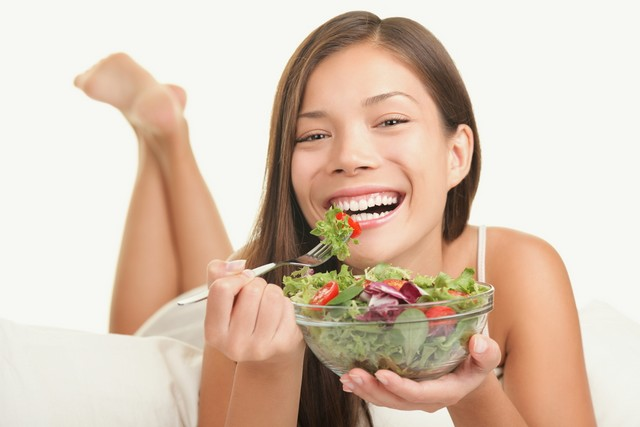 bad stock photos eating a salad