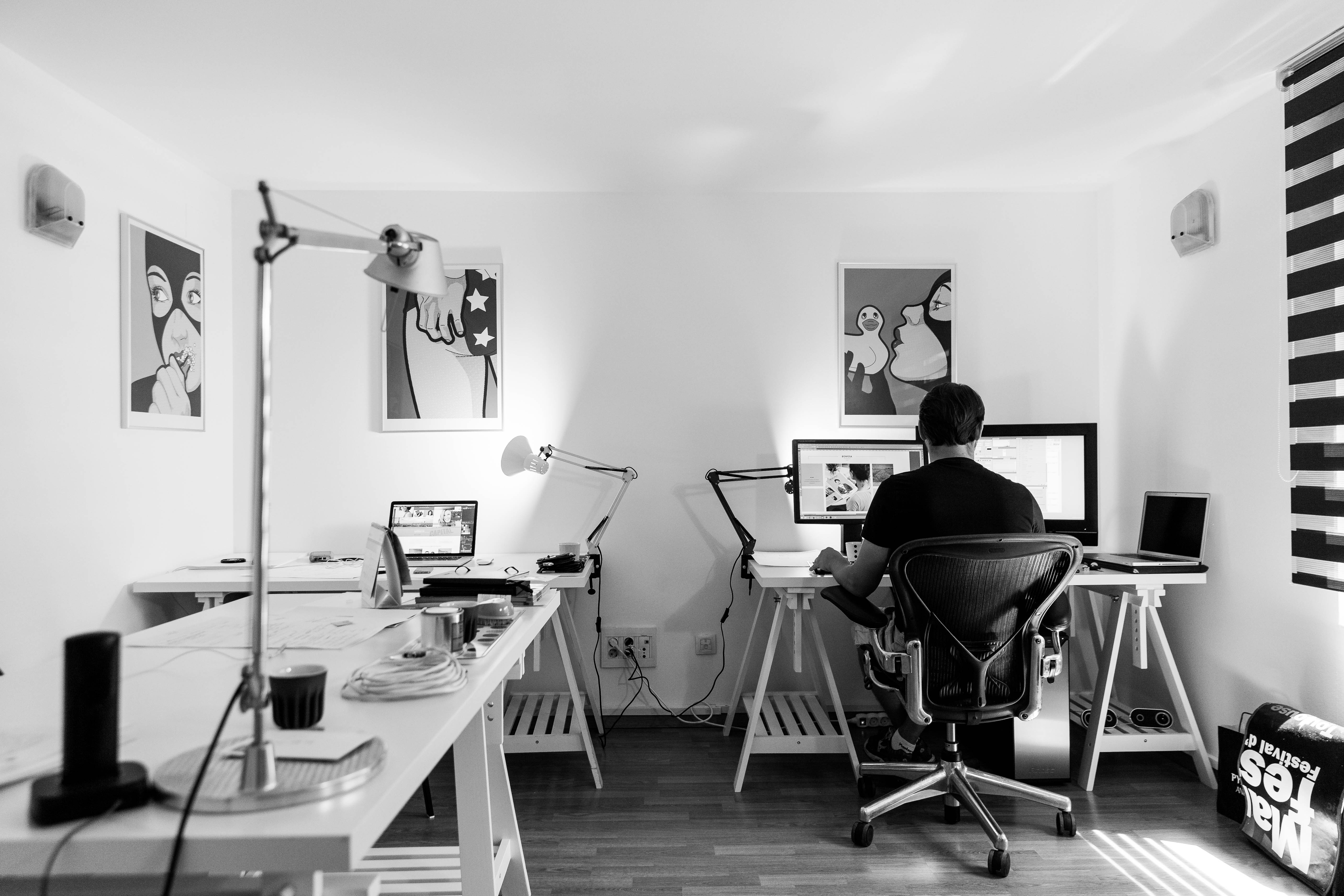 black and white office. k how to choose a digital agency blog post marvellous web design