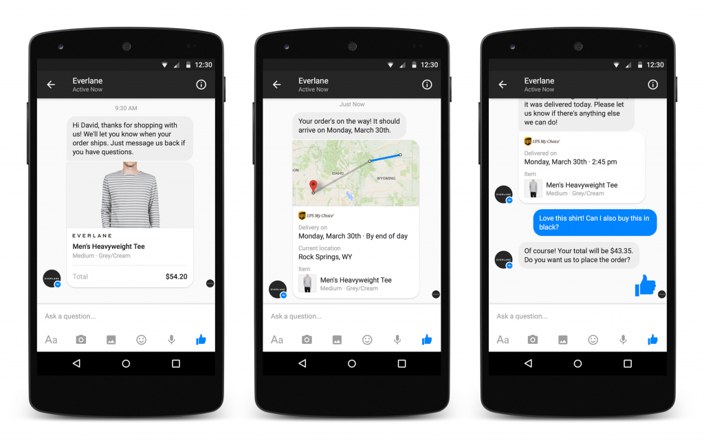 Everlane instant messaging testing on Facebook's M for Business Marvellous agency