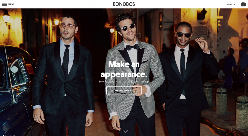 Bonobos eCommerce website screenshot basket placement blog Marvellous