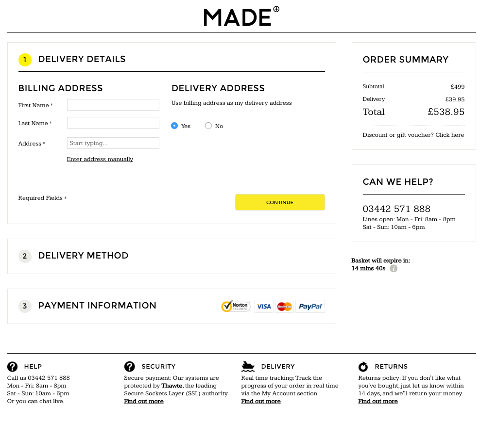 MADE's one step checkout example Marvellous agency