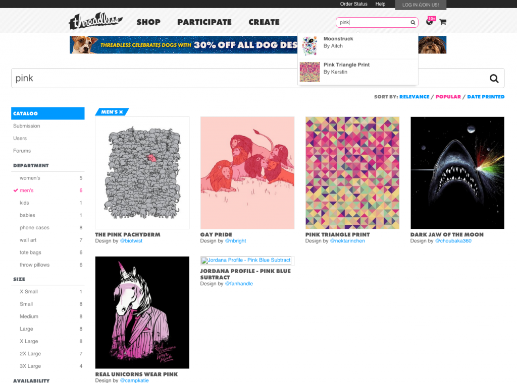 Threadless ecommerce website search function Marvellous agency