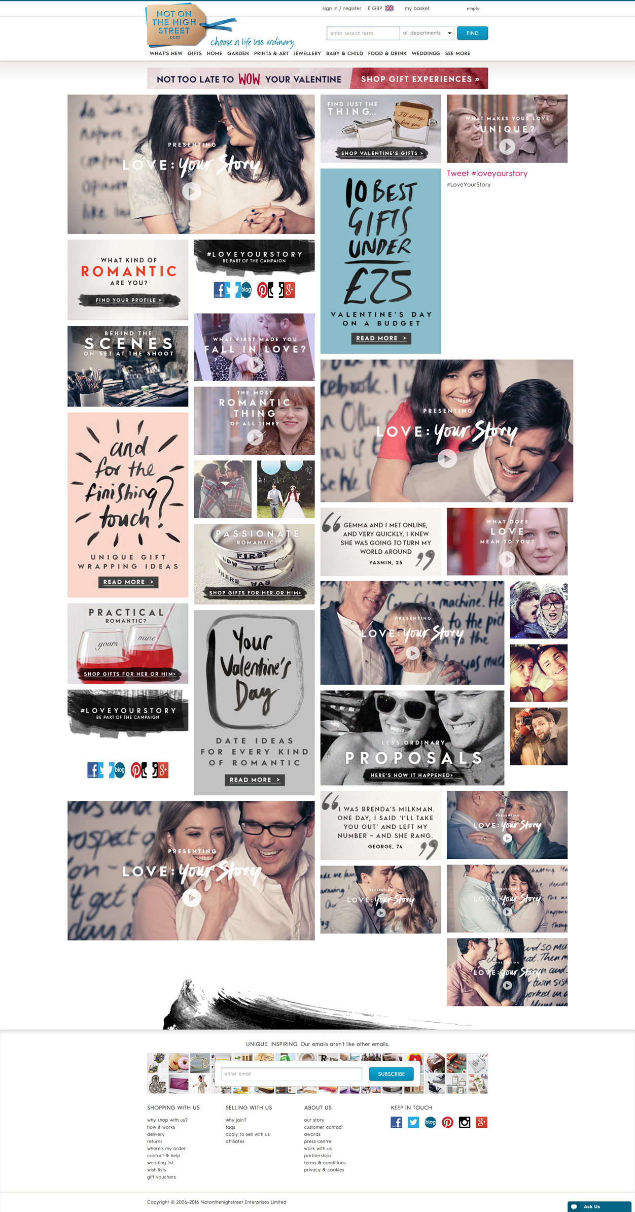 notonthehighstreet.com Valentine's Day campaign blog post Marvellous agency