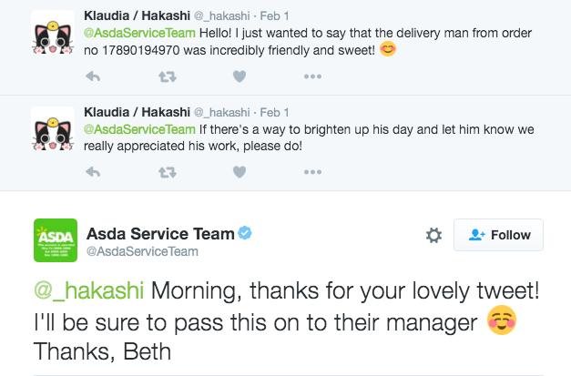 Asda Customer Service over Twitter