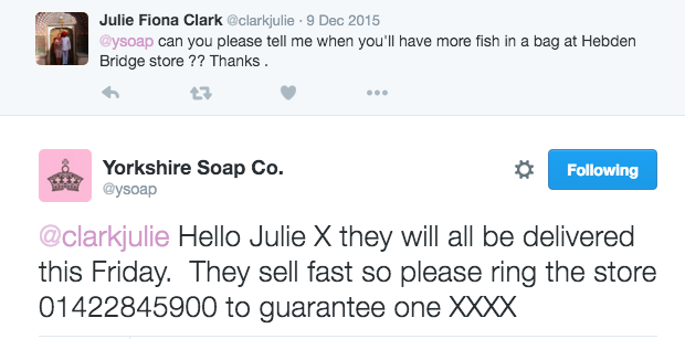 Yorkshire Soap Customer Service over Twitter