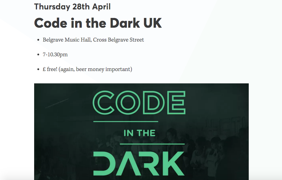 Code in the Dark UK | Headings | Hrefs | Marvellous Digital Agency
