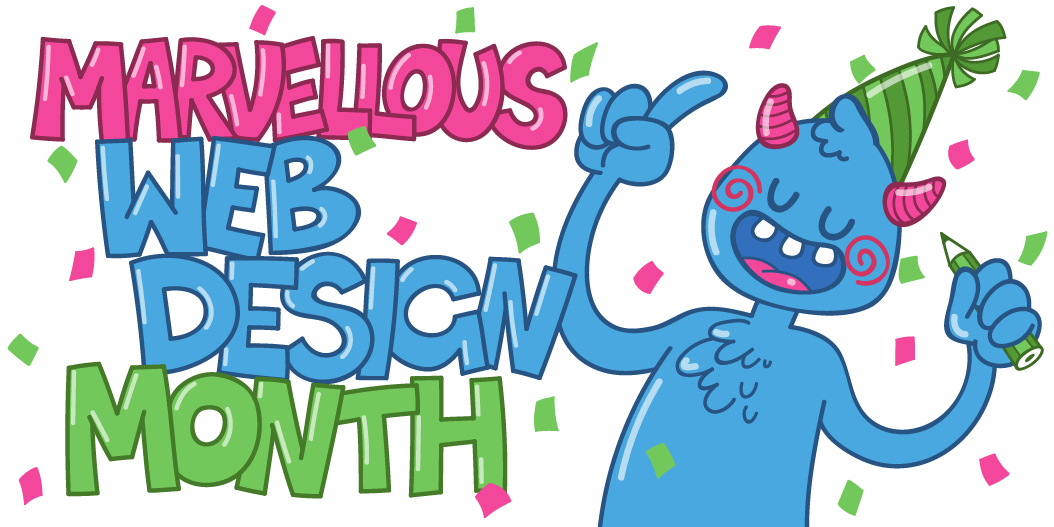 Marvellous web design month mascot illustration