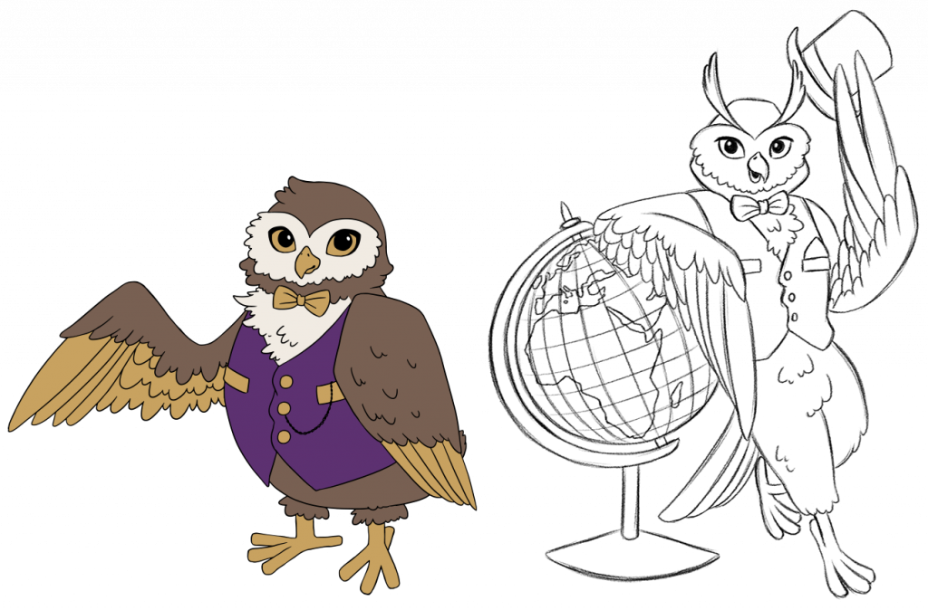 Vector and sketch illustratiuons of owl character for Luxury Flooring
