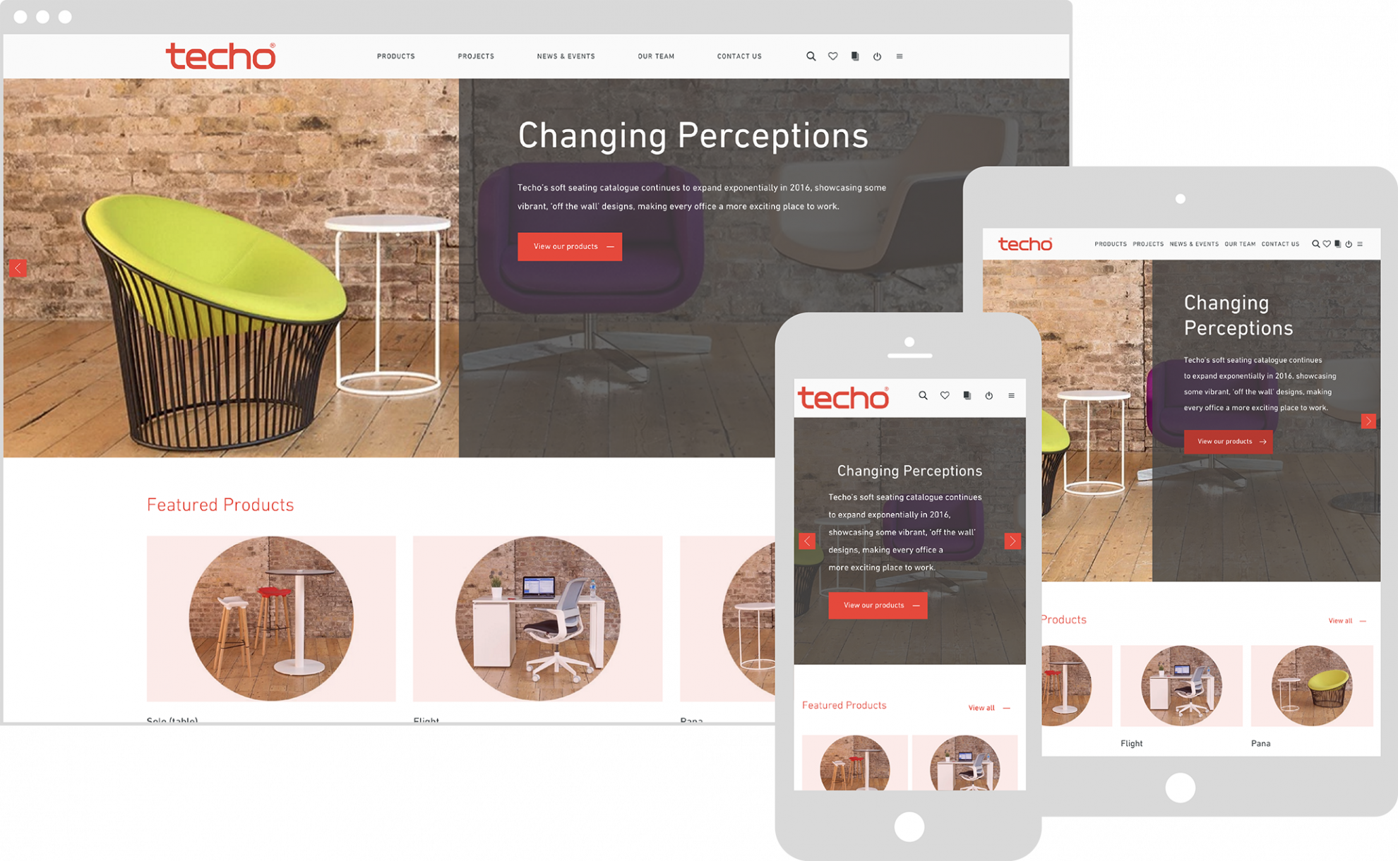 Techo's website shown on various devices