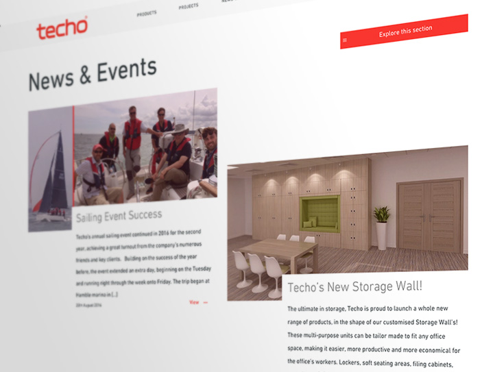 Screenshot of Techo's news & events section
