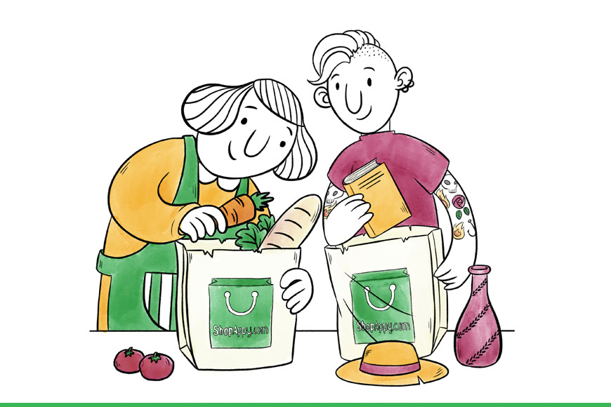 Illustration of two people packing shopping bags