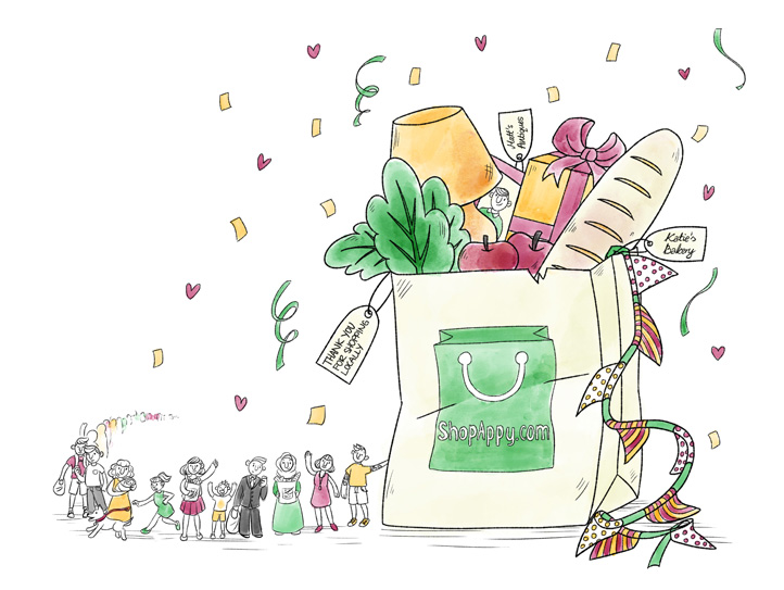 Main banner illustration for Shopappy - big shopping bag