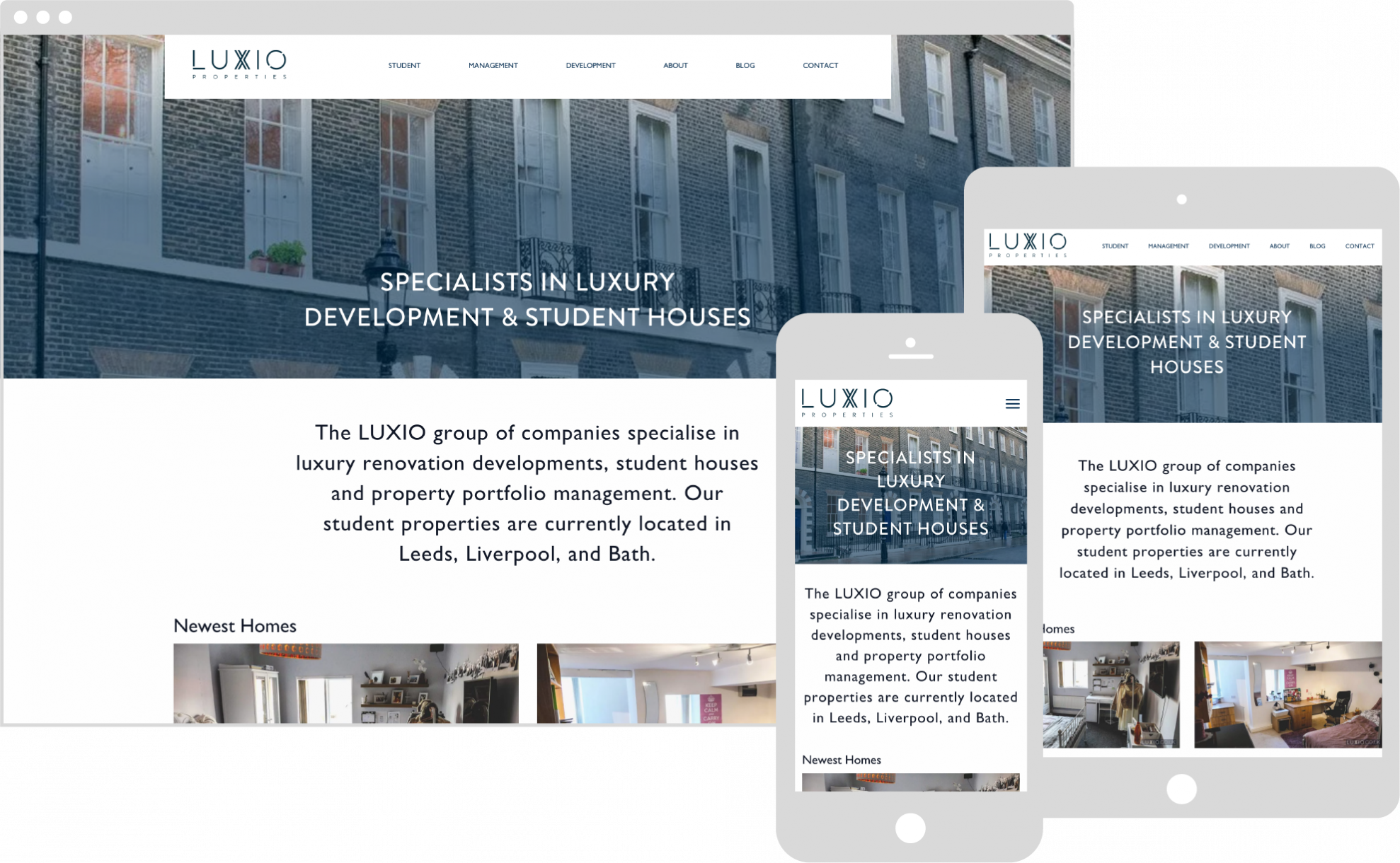 Luxio responsive website shown on various devices