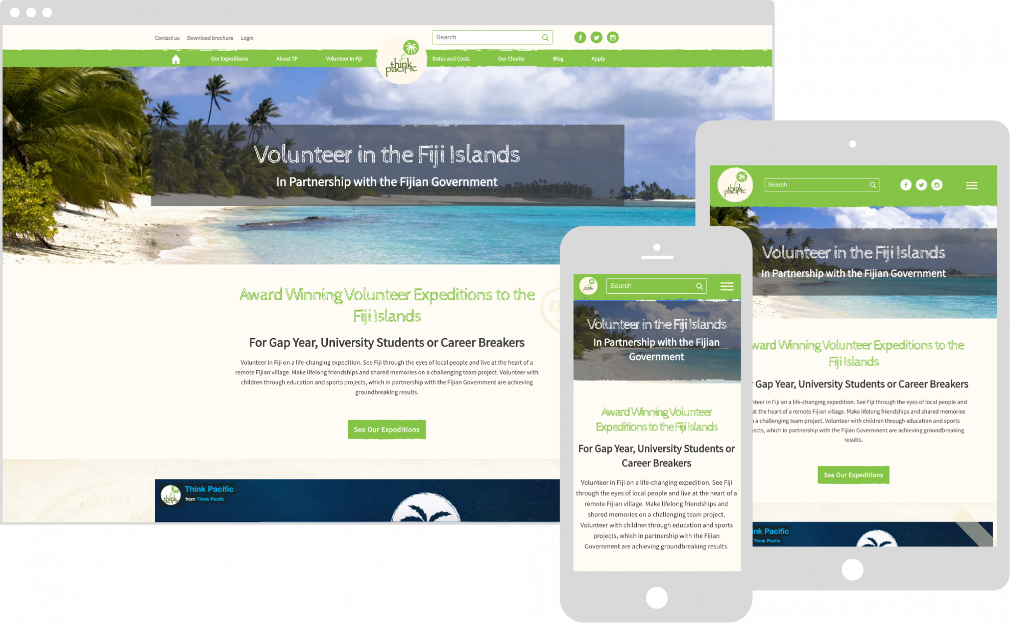 Think Pacific website shown on different devices